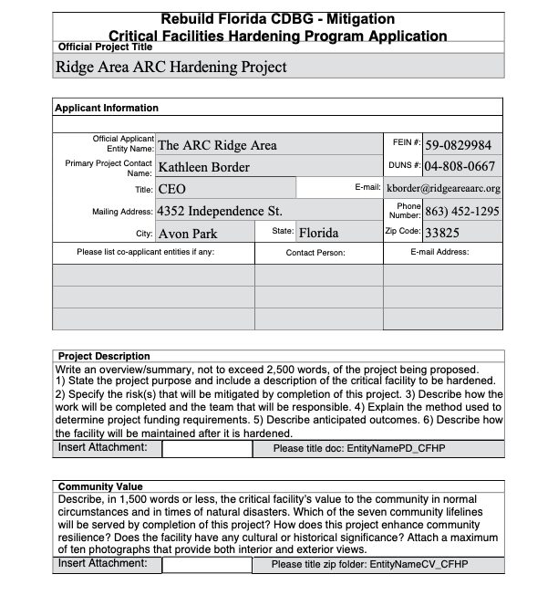 Critical Facilities Hardening Program Application
